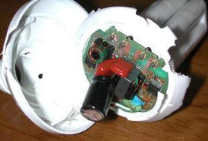 電球形蛍光灯を分解したところ