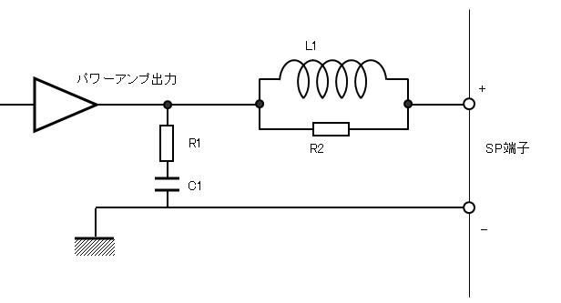 パワーアンプの出力段にあるフィルター回路の図
