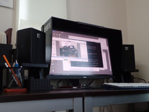 小型SPをPCモニターの両脇に置いて作ったサブシステム