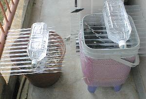 植木鉢を使った生ごみ処理器の例