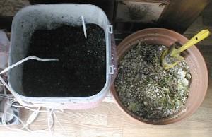 活性炭とバーミキュライトを使った生ごみ処理器の様子