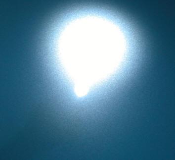 5年間何もしないで放置した塗装面にライトを当てた時の反射光