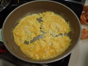 オムライスの卵が完成した様子