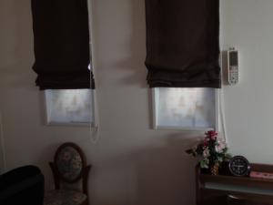 縦長の窓に窓際ボードを設置した例