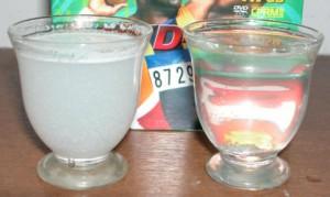 スノールとそよ風を21℃の水に入れて攪拌した結果