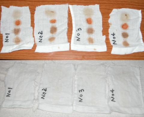 しょうゆ、ソース、ケチャップ、サラダ油を染み込ませた布を洗濯した結果