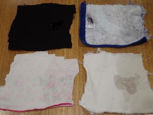 ワセリンを染み込ませた布を5回洗濯したのち、水を滴下した様子