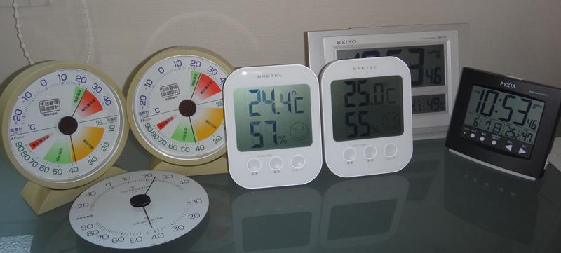 いろいろな湿度計