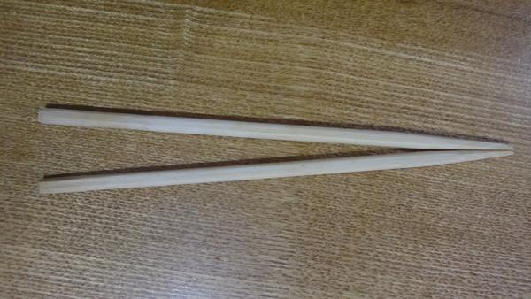 実際に作った先端を合わせたとき隙間がゼロになる箸