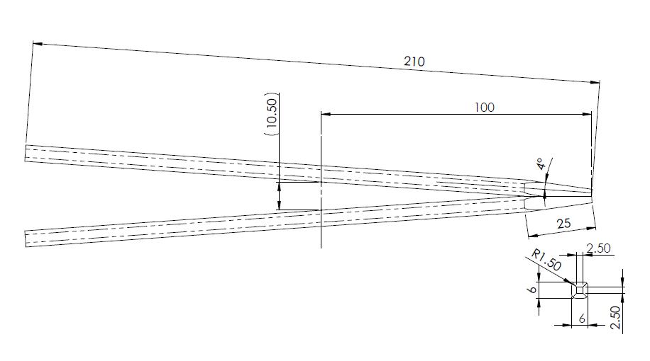 先端を合わせたとき隙間をゼロにできる箸の寸法形状