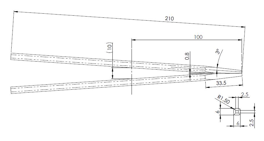 先端角度を3°にした箸の寸法形状