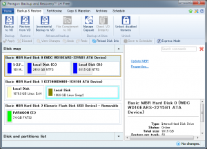 Paragon Backup&Recovery Freeの実行画面