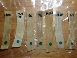 セーム革に各種オイルを飽和含浸させ、メチレンブルーの水溶液を滴下した直後の様子