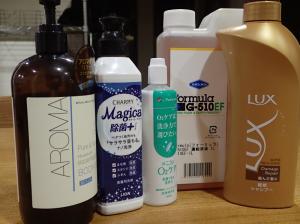 洗浄力を調べるために用意したいろいろな洗剤