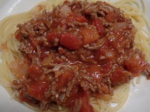 完成したミートスパゲティ